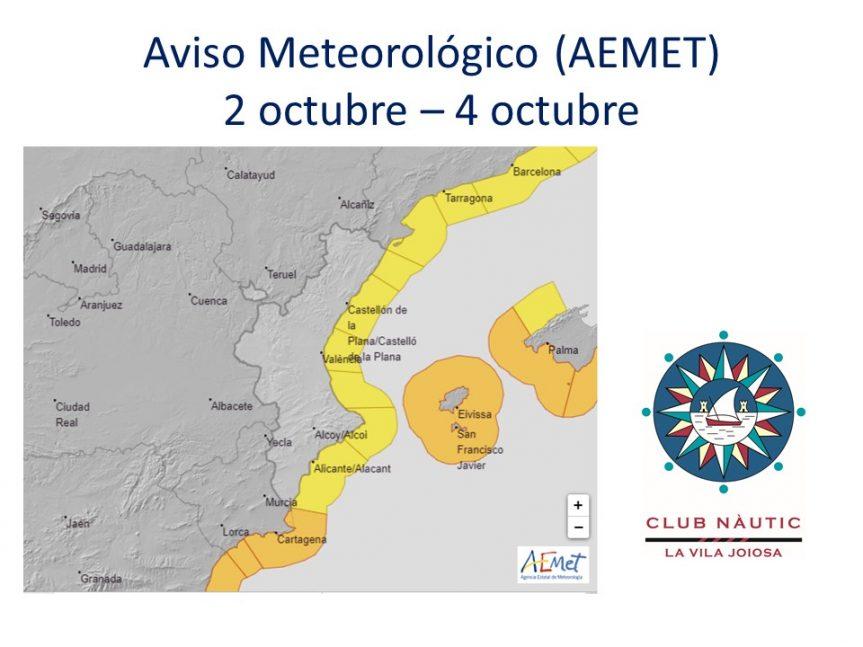 Atención Navegantes: Aviso Meteorológico para este fin de semana 2 al 4 octubre.